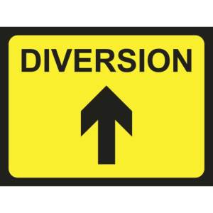 Zintec 1050 x 750mm Diversion Arrow Up Road Sign with Frame