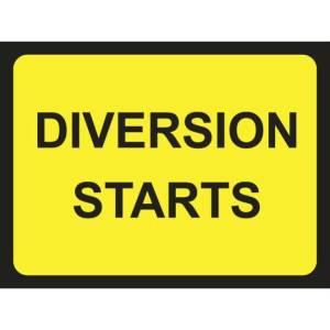 Zintec 1050 x 750mm Diversion Starts Road Sign (no frame)