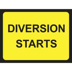 Zintec 1050 x 750mm Diversion Starts Road Sign with Frame