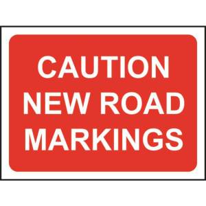 Zintec 1050x750mm Caution New Road Markings Road Sign with Frame