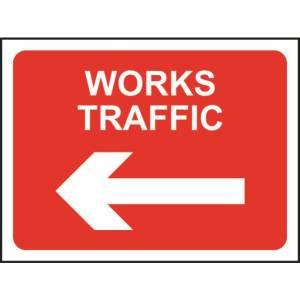 Zintec 1050x750mm Works Traffic Left Road Sign (no frame)