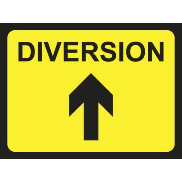 Zintec 600 x 450mm Diversion Arrow Up Road Sign with Frame