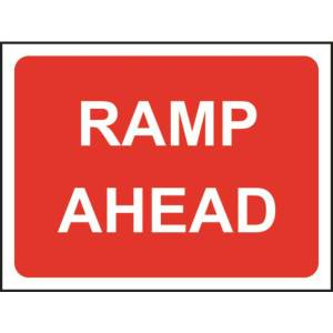 Zintec 600 x 450mm Ramp Ahead Road Sign with Frame
