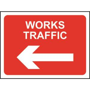 Zintec 600 x 450mm Works Traffic Left Road Sign with Frame
