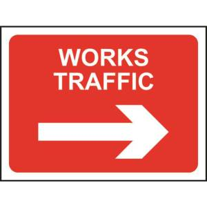 Zintec 600 x 450mm Works Traffic Right Road Sign with Frame