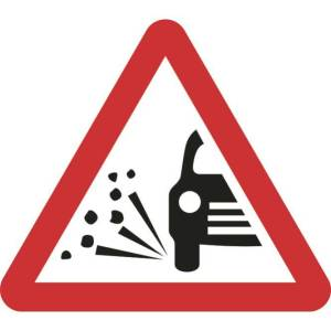 Zintec 600mm Triangular Loose Gravel Road Sign with Frame