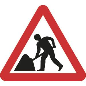 Zintec 600mm Triangular Men At Work Road Sign with Frame