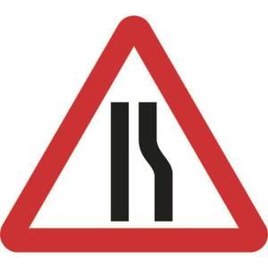 Zintec 600mm Triangular Road Narrows Right Road Sign (no frame)