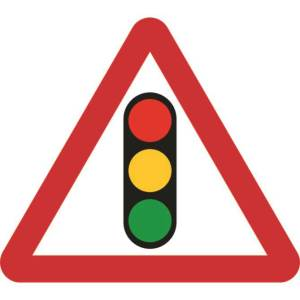 Zintec 600mm Triangular Traffic Lights Road Sign with Frame
