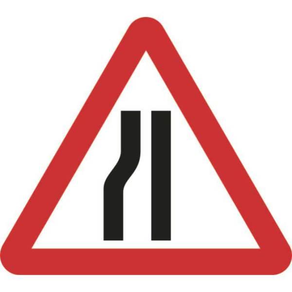 Zintec 750mm Triangular Road Narrows Left Road Sign (no frame)