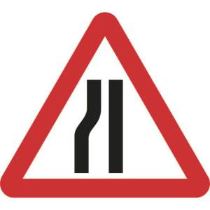 Zintec 750mm Triangular Road Narrows Left Road Sign (no frame)