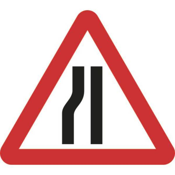 Zintec 750mm Triangular Road Narrows Left Road Sign with Frame