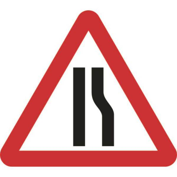 Zintec 750mm Triangular Road Narrows Right Road Sign with Frame