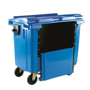 1100L Yellow Wheelie Bin With Drop Down Front and Flat Lid - 1450 X 1400 X 1200
