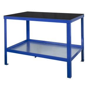 840mm x 1200mm x 600mm Rubber Topped HD Workbench with Cupboard, Bottom Shelf