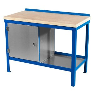 840mm x 1200mm x 750mm Wood Top HD Workbench with Cupboard, Bottom Shelf