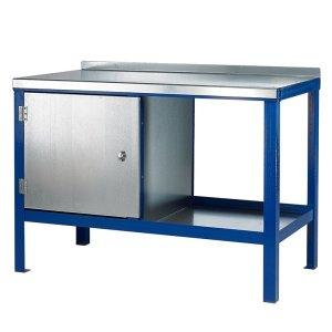 840mm x 2000mm x 900mm Steel Top HD Workbench with Cupboard, Bottom Shelf