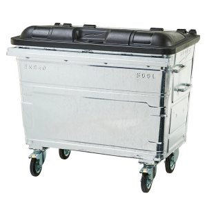 Galvanised Metal Wheelie Bin - 1100 litre