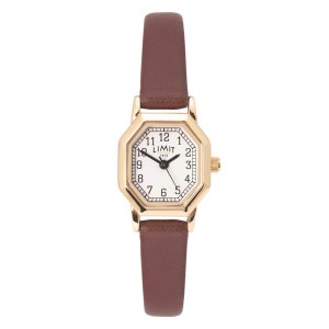 Limit Ladies Classic Octaganol Gold Plated Watch with Leather Strap