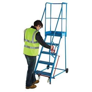 Mobile Braked Industrial Safety Steps - 9 treads, Platform size 550 x 380mm