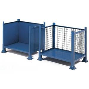 Open Front Steel Pallet - Solid Sides - 610 x 610 x 610mm