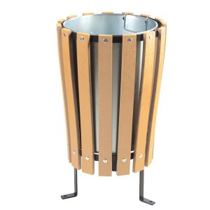 Wood Effect Outdoor Park Litter Bins - square closed top