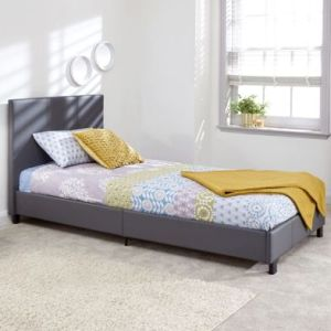 Bugi Single Bed In A Box Grey Faux Leather