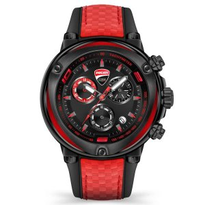 Ducati Gents IP Parrenza Chronograph Watch with Black Base Silicone Strap
