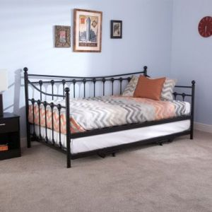 Memphis Single Day Bed & Trundle Black Metal