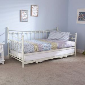 Memphis Single Day Bed & Trundle Cream Metal