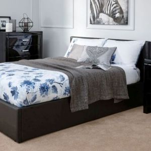 Winston End Lift Double Ottoman Bed Black Faux Leather