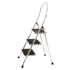 2 tread Chrome Folding Steps with black ribbed slip resistant treads - 150kg load capacity - EN 14183 compliant, TUV tested/GS approved