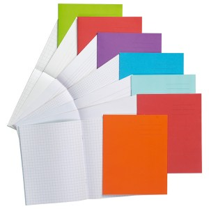 8x6.5in Exercise Book Ruled 12mm No Margin 32 Page Light Red Box o...