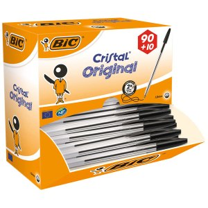 BiC Medium Cristal Black Pen Pack 90 + 10 Free