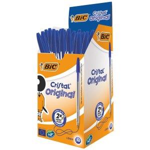 BiC Medium Cristal Blue Pens Pack 50