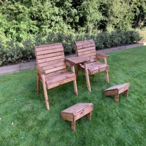Charles Taylor 2 Seat Angled Twin Garden Chair Set & Footstools