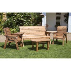 Charles Taylor 5 Seat Garden Set - Burgundy Cushions