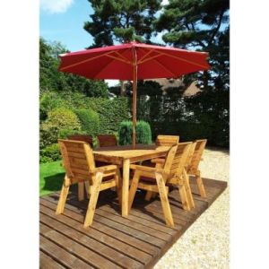Charles Taylor 6 Seat Garden Table Set With Burgundy Parasol & Base