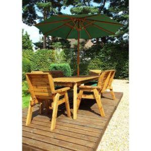 Charles Taylor 8 Seat Garden Rectangular Set - Green Parasol & Base