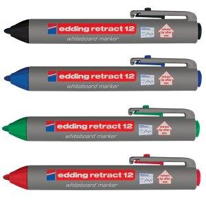 Edding 4-12-4 Retract 12 Whiteboard Marker Assorted 4pk