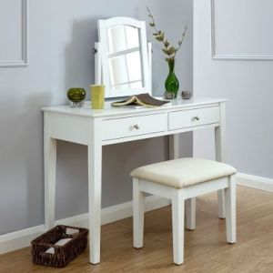 Hattie Dressing Table White 2 Drawer With Stool