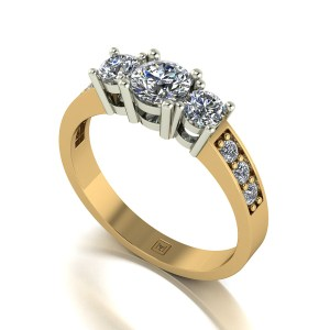 Lady Lynsey Moissanite 9ct Gold 1.00ct eq Trilogy Ring