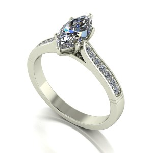 Lady Lynsey Moissanite 9ct White Gold 1.20ct eq Marquise Solitaire Ring