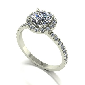 Lady Lynsey Moissanite 9ct White Gold 1.30ct eq Halo Ring