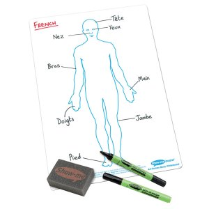 Show-me A4 White Board Human Body Pack of 10 Boards, Pens & Erasers