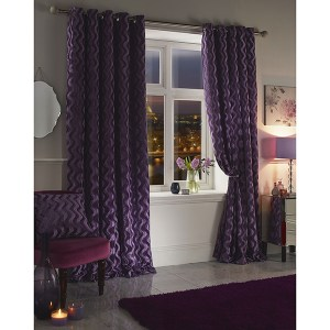 Katie Chenille Velvet Jacquard Lined Eyelet Curtains - 90 Inches