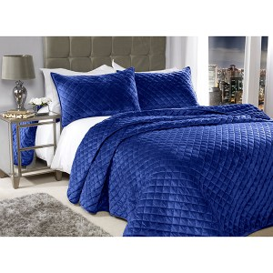 Regent Crushed Velour Quilted Bedspread and Pillow Shams