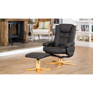The Furniture Collection Durham Swivel Heat and Massage Bonded Leather Recliner and Stool