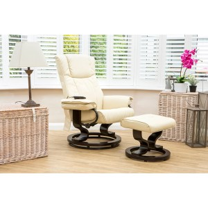 The Furniture Collection Santiago Swivel Heat and Massage Bonded Leather Recliner Chair and Stool
