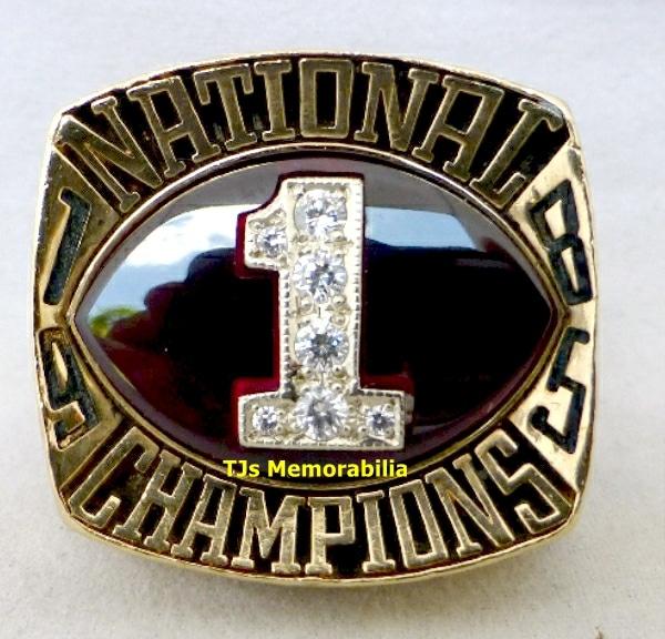 1985 OKLAHOMA SOONERS FOOTBALL NATIONAL CHAMPIONSHIP RING ...
